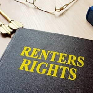 photo of a book with words renters rights
